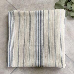 LP Soft White & Blue Stripe Cotton Linen Fabric
